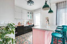Old sideboard into kitchen island
