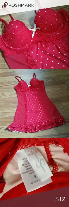 Jessica Simpson Pinup Chemise Pinup-style chemise in red satin with white mini hearts, sheer mesh sides, and flirty ruffles at hem. Padded cups fit A-B. In excellent condition, from smoke-free home.  Reasonable offers welcome!  ❌ No Trades ✂️ BUNDLE & SAVE: Bundle any two or more items from my closet for discounted pricing! ✂️  Jessica Simpson Intimates & Sleepwear Chemises & Slips