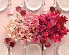 A beautiful colour palette transition from white through to pinks