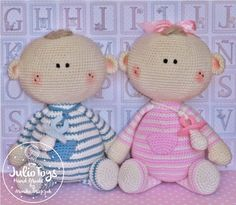 Twins crochet pattern by JulioToys on Etsy https://www.etsy.com/listing/386880492/twins-crochet-pattern