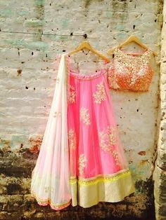 Looking for light pink lehenga? Browse of latest bridal photos, lehenga & jewelry designs, decor ideas, etc. on WedMeGood Gallery. Indian Attire, Indian Ethnic Wear, Indian Style, Indian Wedding Outfits, Indian Outfits, Mehendi Outfits, Indian Clothes, Wedding Dresses, Bride Sister