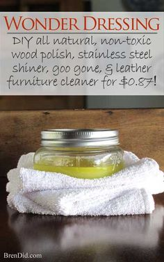 All-Natural Furniture Polish EAsy furniture polish non-toxic wood cleaner: Try this DIY furniture polish stainless steel polish leather cleaner and label remover in one! Homemade Cleaning Products, Cleaning Recipes, Natural Cleaning Products, Cleaning Hacks, Cleaning Supplies, Diy Hacks, Cleaning Solutions, Deep Cleaning Tips, Green Cleaning