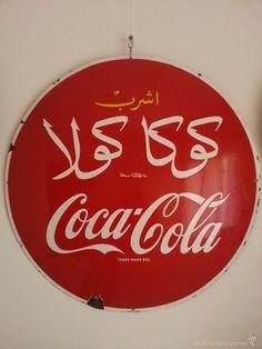 Coca Cola placa - chapa esmaltada de Egipto Egypt Coca Cola Button Sign enamel - Foto 1