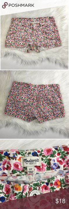 MADEWELL Pink Floral Cotton Shorts Gently Worn. Excellent Condition. Size 27. 100% Cotton. Flatlay Measurements: W 15 1/2  L 11  Inseam 2  H 19 1/2 Leg Opening 11. Made in China. Retails for $69. Madewell Shorts