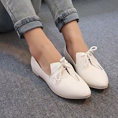 zapatos de las mujeres señalaron toe oxfords planos del talón con los zapatos con cordones más colores disponibles - USD $ 24.99