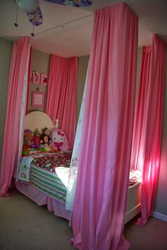 Bed curtains for bed, how to make them. Creating a four poster bed look without needing a new bed. This little girl bedroom is now a dream space. To see more visit- http://ourhousenowahome.com/