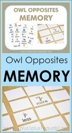 Owl Opposites Memory Game Cards Printables ~ what a fun way to teach opposites!  Adorable owls showing many different opposite words {hot - cold, short - tall, wet - dry and many more!}  Free printables are great for early childhood education!