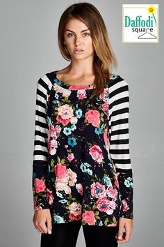 (Pre-order) Floral and Stripe Tunic