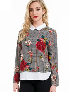 Cheap Blouses & Shirts, Buy Directly from China Suppliers:Vangull Mixed Print Blouse Summer Women Tops Spring Curved Hem 2 In 1 Multicolor Contrast Collar Long Sleeve Floral Plaid Blouse Dms Boutique, Contrast Collar, Spring Tops, Floral Fashion, Mixing Prints, Shirt Blouses, Shirts, Printed Blouse, Plus Size Women
