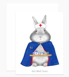 "Hand drawn Bunny with a hand painted nurse's outfit carrying tea with text that reads ""Get Well Soon"". Details: Size A2 (4 ¼"" x 5 ½"") Printed on natural off white paper and paired with a matching off-"