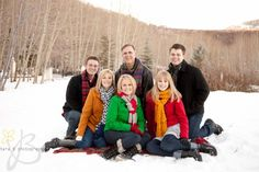Family Photos - Winter Shoot – pops of color work fantastic against a winter sky Location/Lighting