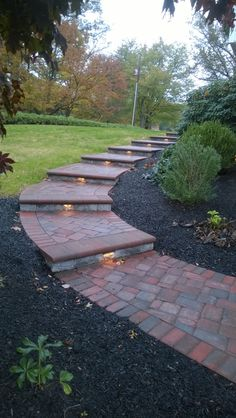 Paver walkway with steps & Integral LED lighting.