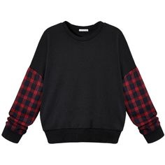 Choies Black Plaid Sleeve Sweatshirt With Drop Shoulder ($19) ❤ liked on Polyvore featuring tops, hoodies, sweatshirts, sweaters, shirts, jumpers, black, tartan shirt, plaid sweatshirt and drop shoulder tops