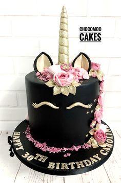 Black & Gold Unicorn Cake