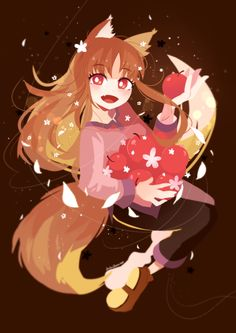 Spice and Wolf- For fans of the light novels, anime, and manga - Holo The Wise Wolf Witchy Wallpaper, Wolf Wallpaper, Anime Girl Neko, Anime Guys, Spice And Wolf Holo, Wolf Deviantart, Anime Monsters, Wolf Girl, Light Novel
