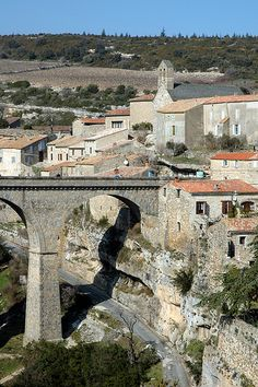 Minerve, prettiest village in the Herault, France. Relais Chantovent for lunch overlooking the gorge, great restaurant.