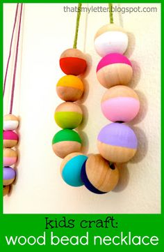 Thats My Letter: W is for Wood Bead Necklace, teacher appreciation, kids craft, Mother's Day