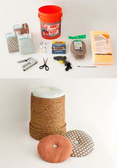Pouf with rope from a bucket-I'd make it differently but the idea is good