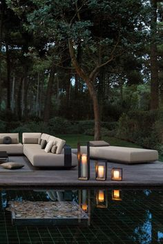 Designer Contemporary Outdoor Daybed Sun Lounger at Juliettes Interiors. Daybed Outdoor, Outdoor Lounge, Outdoor Living, Outdoor Spaces, Outdoor Decor, Outdoor Sofas, Contemporary Outdoor Furniture, Outdoor Furniture Design, Luxury Furniture