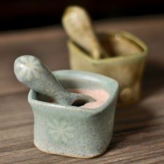 Handmade salt box and spoon to add to the character and functionality of your kitchen... cute yet at the same time strong looking.