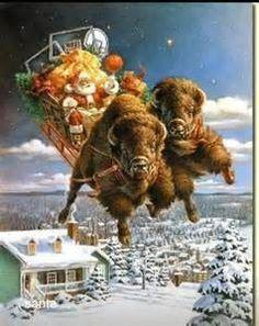 Santa and his buffalo- a perfect western Christmas sleigh Western Christmas, Merry Christmas, Father Christmas, Country Christmas, Christmas Pictures, Christmas Time, Vintage Christmas, Christmas Blessings, Christmas Scenes