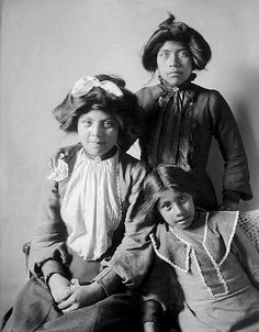 Modoc women, Rosa, Tena and Mabel, All Daughters of Charles S. Hood. Photographed March, 1905. - National Anthropological Archives, Smithsonian Institution.