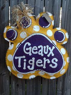 LSU Tiger Paw Burlap Door Hanger by monkeylynnedesigns on Etsy, $40.00