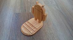 Robot Android de teléfono madera soporte / soporte de teléfono