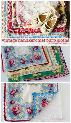 Vintage Hankie Burp Cloths Repurpose Vintage Hankies into a sweet gift for a new baby. Burp Cloths made from Vintage HandkerchiefsRepurpose Vintage Hankies into a sweet gift for a new baby. Burp Cloths made from Vintage Handkerchiefs Vintage Crafts, Vintage Sewing, Vintage Linen, Vintage Diy, Vintage Fabrics, Fabric Crafts, Sewing Crafts, Sewing Projects, Handkerchief Crafts