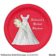 wedding dress bridal shower paper plate 9 inch paper plate