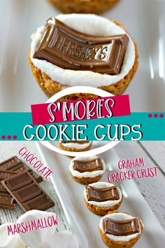 With these S'mores Cookie Cups,ou can enjoy the flavor of s'mores any time! Buttery graham cracker cups filled with toasted marshmallow and topped with Hershey's Chocolate Bar, everyone will be asking for s'more! Cookie Cups, Cookie Desserts, Easy Desserts, Cookie Recipes, Delicious Desserts, Dessert Recipes, Yummy Food, Mini Desserts, Plated Desserts