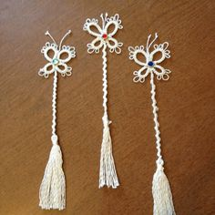 Listia: Needle Tatted Butterfly Bookmarks (about eight to nine inches in length)  #tatting #insect