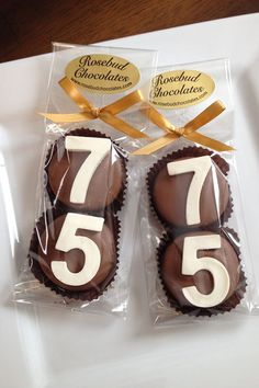 8 Pairs 75 Chocolate Covered Oreo Cookie Candy Party Favors Number Seventy Five 75th Birthday Anniversary