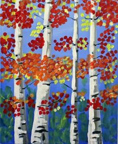 We host painting events at local bars. Come join us for a Paint Nite Party! Fall Canvas Painting, Autumn Painting, Diy Painting, Canvas Art, Canvas Ideas, Art Journal Inspiration, Painting Inspiration, Canvas And Cocktails, Birch Tree Art