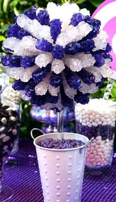 Purple White Silver Rock Candy Centerpiece Topiary Tree, Candy Buffet Decor, Candy Arrangement Wedding, Mitzvah, Party Favor,
