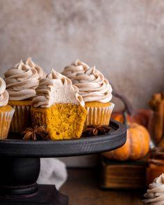 Pumpkin Bundt Cake, Pumpkin Cupcakes, Pumpkin Bread, Pumpkin Spice, Almond Cupcakes, Pumpkin Pumpkin, Cream Cheese Muffins, Cupcakes With Cream Cheese Frosting, Pound Cake Recipes
