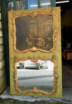 Trumeau Louis XV, XIXe bois doré et huile sur toile, Méounes Antiquités, Proantic