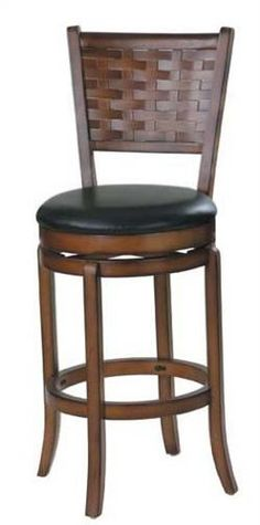 """30""""H Swivel Bar Stool Walnut Finish by Acme Furniture. $131.15. Some assembly may be required. Please see product details.. Dimension: 30"""" Seat Height Finish: Walnut Material: Wood, Bycast Leather 30""""H Swivel Bar Stool Walnut Finish Item features black bycast leather covered cushion seat and back. Assembly required."""