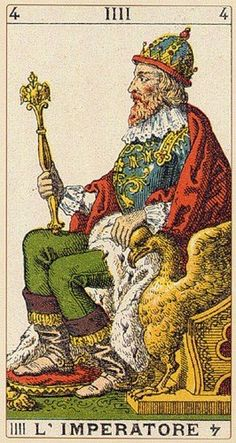 The Emperor - Ancient Italian Tarot. This card symbolizes one of the stages of the Fool's Journey towards self-discovery. The Fool stands for all of us. Vintage Tarot Cards, Twin Flame Love, Online Tarot, Daily Tarot, Tarot Card Decks, Oracle Cards, Medieval Art, Deck Of Cards, Light In The Dark