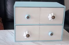 Ikea Hack. Paint the Moppe and turn the drawers around, add some knobs and voila.