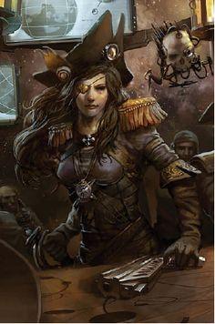 f Pirate Alternate Reality Rogue trader Warhammer Fantasy, Warhammer 40k Art, Warhammer 40k Miniatures, Character Portraits, Character Art, Character Design, Character Ideas, Fantasy Kunst, Fantasy Art
