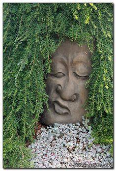 **Oregon Garden Sculpture……hey, a little hypertufa and lots of skill could g… - Modern Oregon Garden, Face Planters, Concrete Art, Flower Pots, Flowers, Succulents Garden, Garden Planters, Cement Garden, Outdoor Planters