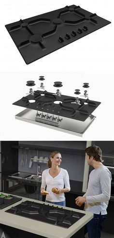 """Volcano Cast Iron Hob by Ahmet Yalçınkaya (from the A' Design Award & Competition). It is made with cast iron. The process involves one part molding and 3 layers of """"electrophoretic"""" enamel coating. #kitchen #modern #metal #casting #form #style #concept #contemporary #black #surface #texture"""