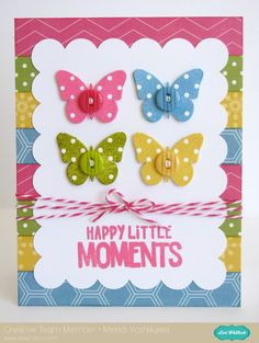 An Echo Park Fine & Dandy Card Set by Mendi Yoshikawa - Scrapbook.com - Butterflies in 4 polka dot colors make a pretty card.