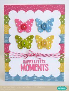 An Echo Park Fine & Dandy Card Set by Mendi Yoshikawa - Scrapbook.com - Butterflies in 4 polka dot colors make a pretty card.