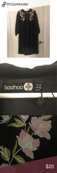 Boohoo shirt dress NWT!! This dress is new with tags. I was too short for it so I need to let it go. Boohoo Plus Dresses