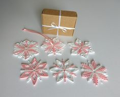 Gift tags 2 luxury gift tags quilled ornaments by Favor Tags, Gift Tags, Baby Shower Gifts For Guests, Handmade Items, Handmade Gifts, Paper Quilling, Snowflakes, Party Favors, Knit Crochet