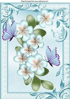 Pretty blue flowers with butterflies in ornate frame A4 on Craftsuprint - Add To Basket!