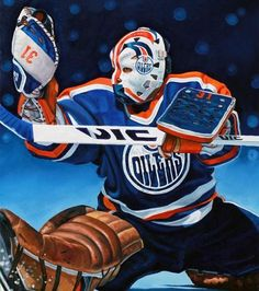 Grant Fuhr, Edmonton Oilers by Tony Harris Hockey Goalie, Hockey Teams, Hockey Players, Ice Hockey, Hockey Pictures, Sports Pictures, Nhl, Hockey Rules, Canadian Football