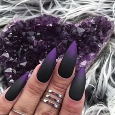 The trend of matte nail art designs have been rising in recent years. You can use matte nail art designs to enhance your temperament and taste and make you look beautiful and gorgeous. Ombre nail art designs make women look very attractive. They lo Matte Nail Art, Gold Nail Art, Black Nail Art, Stiletto Nail Art, Nail Nail, Black And Purple Nails, Purple Stiletto Nails, Black Ombre Nails, Matte Black Nails
